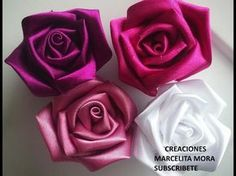 Ribbon flowers how to make:rose from satin ribbon/tutorial/Цветы из лент:роза из атласной ленты/МК - YouTube