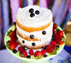 red white and blue naked layer cake