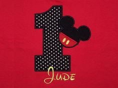 Mickey Mouse Applique Personalized Shirt or by TaylorADesigns, $20.95