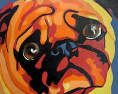 colorful pug painting - Google Search
