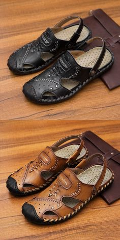 08f7add6 Prelesty Cool Summer Men's Split Leather Breathable Outdoor Sandals Shoes