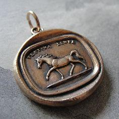 Equestrian wax seal pendant  Make Haste Slowly  horse by RQPStudio, $65.00