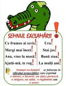 Semne de punctuație -Semnul exclamării Romanian Language, Teacher Supplies, Class Decoration, School Lessons, Kids Education, Kids And Parenting, Back To School, Kindergarten, Homeschool