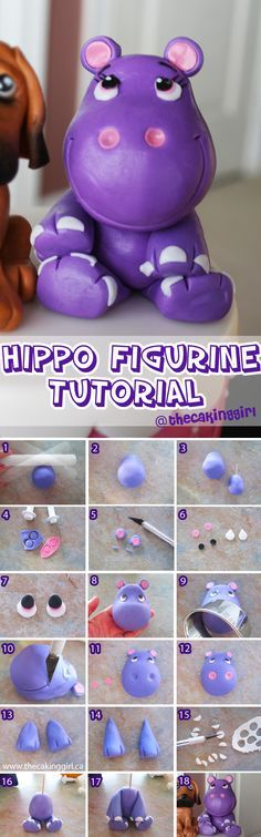 Cute Hippo Figurine Tutorial with Fondant, Gumpaste or Clay. DIY For keepsake or cake toppper. www.thecakinggirl.ca