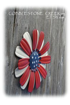 """Cute!! Extra Large 15"""" American Flag Painted Metal Daisy Flower - Shabby Chic - Home Decor - USA Flag - Americana - Patriotic - red white blue. $18.99, via Etsy."""