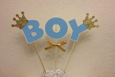 Hey, I found this really awesome Etsy listing at https://www.etsy.com/listing/218161932/prince-crown-baby-shower-centerpiece
