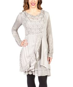 Another great find on #zulily! Gray Floral Lace Drape Tunic by Vintage Concept #zulilyfinds