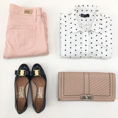 StylishPetite.com | Polka dot shirt, blush jeans, chevron quilted clutch and Ferragamo vara pumps