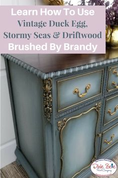 Learn how to use Vintage Duck Egg, Stormy Seas and Driftwood Together from Dixie Belle Paint Company! This amazing piece is easy peasy to create! over easy How to Blend on a Buffet - Dixie Belle Paint Company Chalk Paint Furniture, Hand Painted Furniture, Distressed Furniture, Funky Furniture, Refurbished Furniture, Repurposed Furniture, Shabby Chic Furniture, Furniture Projects, Furniture Makeover