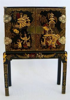 Judith Dunger Artisan Hand Painted Miniature Cabinet Stand See Photos Below | eBay