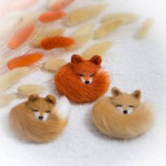 Fox Brooch wool Pin sleeping fox jewellery fox stuffed animal | Etsy