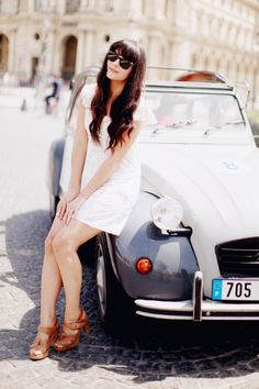 Alix from The Cherry Blossom Girl blog wearing a Paul & Joe dress