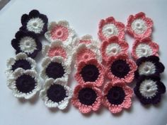 Set of 20 Pink Purple and White Crochet Flowers by Roxana010, $4.00