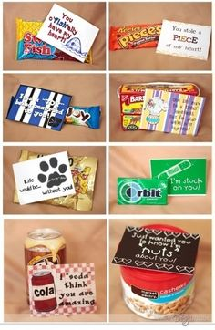 "DIY party favor ideas ~ ""just wanted you to know how NUTS I am about you, friend!"" ~ ""I SODA think you're amazing!"" ~ ""thanks for coming to my circus of a birthday, party animal!"""