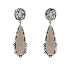 Sutra Agate Quartz Earrings with Rose Cut Diamonds