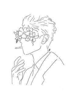 Art And Illustration, Illustrations, Art Sketches, Art Drawings, Pencil Drawings, Minimalist Drawing, Flower Art, Art Flowers, Paper Flowers