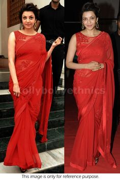 Bollywood Actress Kajal Agarwal Georgette Saree in Red color