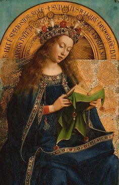 Virgem Maria, detalhe do Ghent Altarpiece, Hubert van Eyck, Jan van Eyck, 1432, Catedral de St. Bavo, Gent, Bélgica.