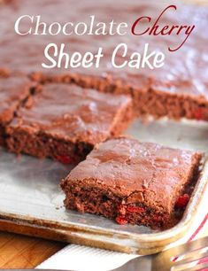 Chocolate Cherry Sheet Cake- Store bought cake mix and a can of cherry pie filling are the main ingredients, the rest is a pretty short list. Chocolate Cherry, Chocolate Desserts, Chocolate Frosting, Chocolate Cake, Sweet Recipes, Cake Recipes, Dessert Recipes, Sweets Cake, Cupcake Cakes
