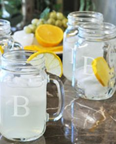 Monogrammed mason jars - so great for weddings, parties and showers! #theweddingoutlet