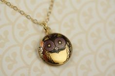 Small Yellow Whimsical Owl Locket,  Girl's Necklace, Miniature Pendant, Purple, 14kt Gold Filled Chain, Little Bird Fashion, Women's Jewelry