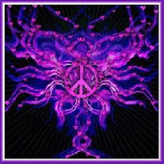 Purple Peacesign With Purple Hearts Inside And On The Outside The Peace Sign With Color On Inside