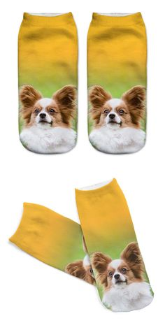 Unisex 3D Printed Cotton Socks Dog Printed Casual Style 19cm Low Anklet Socks Women Calcetines Chaussettes