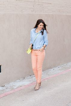 polka dots, chambray, and pastel jeans for Spring by Kendi