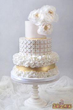 Modern Ruffle Wedding Cake by Nasa Mala Zavrzlama - http://cakesdecor.com/cakes/263278-modern-ruffle-wedding-cake