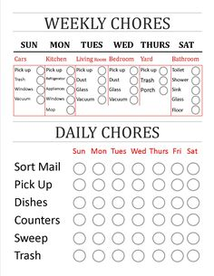 Daily weekly cleaning chore chart free printable things to do