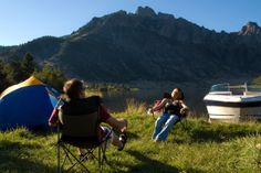 Camping in Helena, Montana is the best, especially on the edge of the lake!