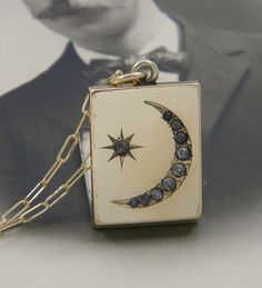 Antique Victorian Moon and Star Locket Necklace by LuvLockets