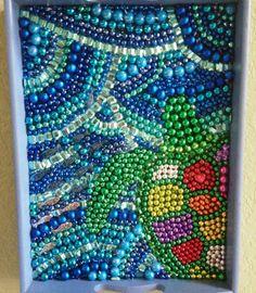 Recycle Mardi Gras beads into art. Sea Turtle done January 2013.