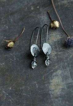 raw rough disc and herkimer diamond earrings oxidised