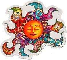 Sleeping Sun Sticker By Dan Morris-Sunrays Sleeping Sun Sticker Let the sun shine with this stain glass effect Sleeping Sun Sticker. Its aura filled with primitive tribal images of birds and animals, and imagery of clouds, sky and stars. Images Hippie, Tribal Images, Window Stickers, Bumper Stickers, Cat Stickers, Sleeping Sun, Chill, Hippie Shop, Hippie Gypsy