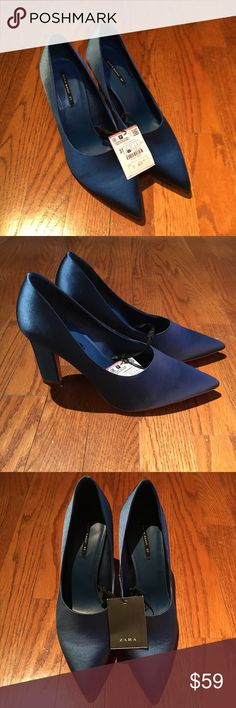 "Zara Satin Blue Heels Zara Satin Blue Heels - NEW WITH TAG  Heels Height - 3.6""  Size 37 Zara Shoes Heels"