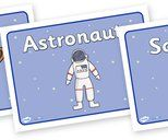Space Labels Primary Resources, Space, planets, moon, stars