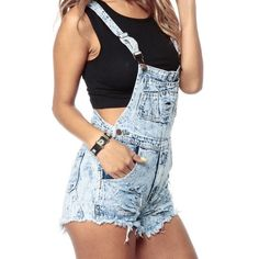 Acid wash overalls Acid wash overalls. Same color as cover photo but not destroyed. Good condition. Waist is 30 length is adaptable. Adjustable straps. Shorts Jean Shorts