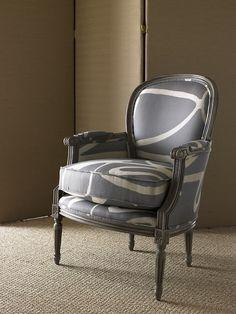 Beautiful Joe Ruggiero signature fabric on French chair. Love the modern touch.
