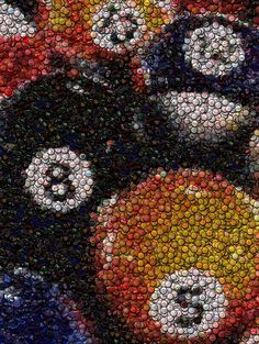 Pool Hall Metal Print featuring the mixed media Billiard Ball Bottle Cap Mosaic by Paul Van Scott Beer Cap Art, Beer Caps, Bottle Cap Projects, Bottle Cap Crafts, Diy Bottle, Bottle Cap Table, Bottle Cap Art, Beer Cap Table, Mosaic Art