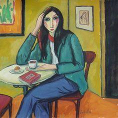 Mujer en el café (2015).  Gouache sobre papel, 35x35 cm. Guillermo Martí Ceballos