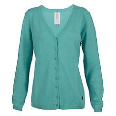 Este es un cárdigan y lo pones en tu cuerpo. Es verde azulado. Me gusta el color.