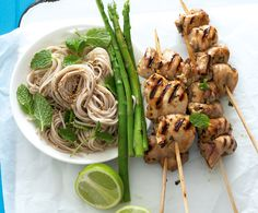 Chicken skewers with chilli mint soba noodles (wheat-free) Wheat Free Recipes, Gluten Free Recipes, Healthy Recipes, Paleo Meals, Healthy Meals, Easy Recipes, Healthy Food, Weeknight Meals, Easy Meals