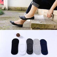 1 pair Socks Men Slippers cotton Non-slip Silicone Invisible Boat  Socks Summer Male Ankle Socks