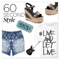 """Outdoor Concerts"" by elli-argyropoulou on Polyvore featuring Neil Barrett, Mat, agnès b., Wedges, shorts, Tshirt, 60secondstyle and outdoorconcerts"
