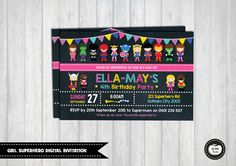 GIRL SUPERHERO Invitation. Superhero Digital by RedAppleStudio