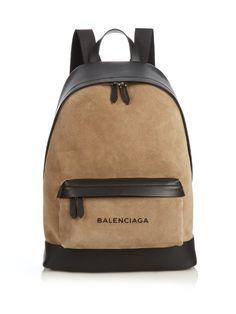 Balenciaga Bi-colour suede and leather backpack Backpack Brands, Men's Backpack, Fashion Backpack, Black Leather Backpack, Leather Briefcase, Balenciaga Bag, Bold Logo, Back Bag, Men Accessories