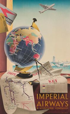Interesting to have calipers included in this travel poster! Vintage Airline Posters