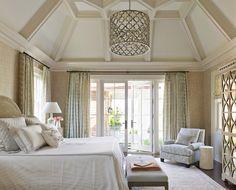 Beautiful bedroom! Love the neutrals and dark floor -  Andrew Howard Interior Design