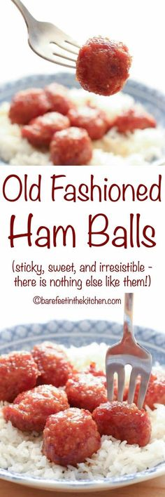 Old Fashioned Ham Balls are coated in a thick, sticky, sweet and sour glaze and then baked in the oven until piping hot and irresistible. Ham Recipes, Meatball Recipes, Crockpot Recipes, Cooking Recipes, Amish Recipes, Retro Recipes, Potato Recipes, Sweet Recipes, Recipes